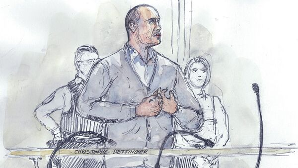 This court sketch made on February 13, 2019 shows Christophe Dettinger, a former boxer, standing during the opening hearing of his trial over the assault of a police officer during 'yellow vest' protest (gilets jaunes), at the Paris courthouse. - Sputnik France