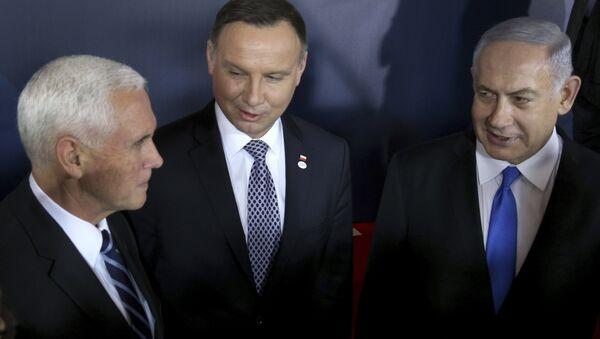 Mike Pence, Andrzej Duda et Benjamin Netanyahu au sommet de Varsovie - Sputnik France