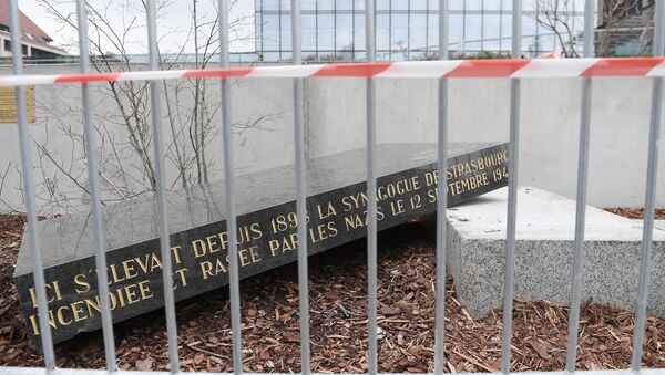 The memorial stone marking the site of Strasbourg's Old Synagogue, which was destroyed by the Nazis in World War II, is pictured after it was vandalised overnight on March 2, 2019 in Strasbourg, eastern France. - Sputnik France