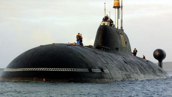 A file picture taken in Brest harbor, western France, on September 21, 2004, shows the Vepr Russian nuclear submarine of the Project 971 Shchuka-B type, or Akula-class (Shark) by NATO classification , the same type as the Nerpa Russian nuclear submarine - Sputnik France