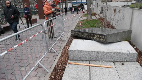 This file photo taken on March 2, 2019 shows the memorial stone marking the site of Strasbourg's Old Synagogue, which was destroyed by the Nazis in World War II, after it was overthrown in Strasbourg, eastern France - Sputnik France
