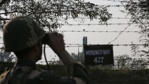 An India's Border Security Force (BSF) soldier keeps vigil during patrol along the fenced border with Pakistan in Ranbir Singh Pura sector near Jammu February 26, 2019 - Sputnik France