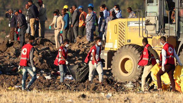 Opérations de recherches sur le lieu du crash de l'avion de la compagnie Ethiopian Airlines. - Sputnik France