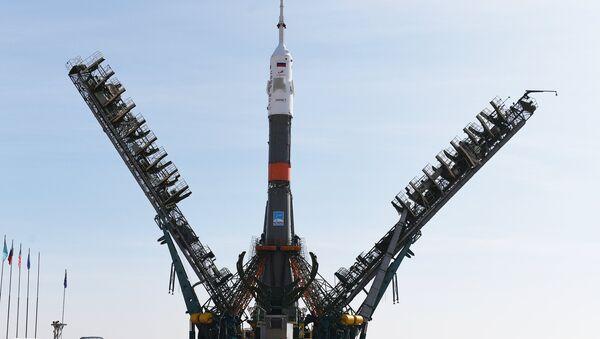 Le lanceur Soyouz-FG installé sur un pas de tir du cosmodrome de Baïkonour - Sputnik France