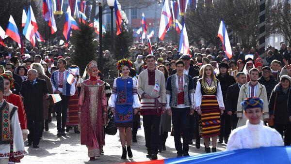 Празднование 5-й годовщины воссоединения Крыма с Россией - Sputnik France