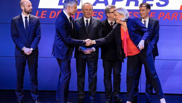 Les chefs de partis politiques lors d'un grand débat: Stanislas Guerini (LREM), Laurent Wauquiez (LR), François Bayrou (MoDem), Jean-Luc Mélenchon (LFI), Olivier Faure (PS) and Marine Le Pen (RN) - Sputnik France