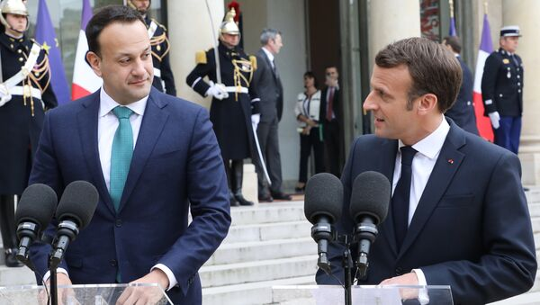 French President Emmanuel Macron (R) speaks during a jopint press conference with Irish Prime Minister Leo Varadkar (L), in the courtyard of the Elysee Palace, in Paris, on April 2, 2019 following their meeting. French President Emmanuel Macron warned, on April 2, 2019, the European Union could not be held hostage to the Brexit crisis and said that a lengthy extension of the deadline for Britain to leave the bloc was not a certainty. Speaking during a visit to Paris by Irish Prime Minister Leo Varadkar, the French leader said: Our priority must be the proper functioning of the European Union and the single market.  Ludovic MARIN / AFP - Sputnik France