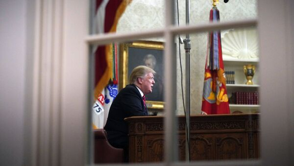 As seen from a window outside the Oval Office, President Donald Trump gives a prime-time address about border security Tuesday, Jan. 8, 2018, at the White House in Washington - Sputnik France