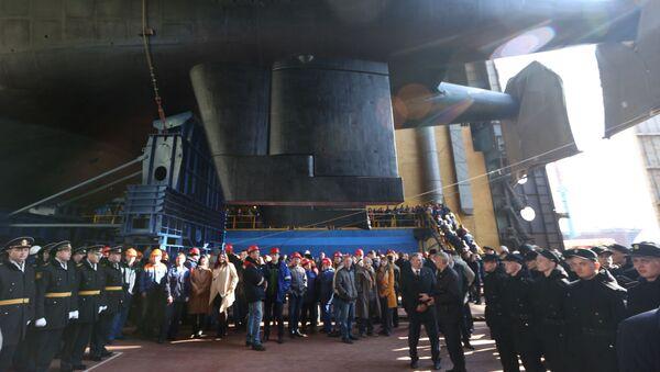 La cérémonie de mise à l'eau du sous-marin russe, le K-329 Belgorod - Sputnik France