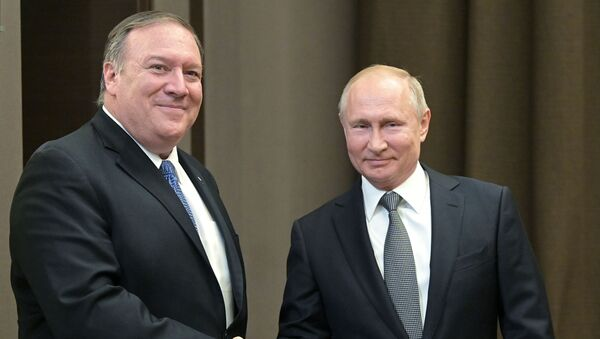 Президент РФ В. Путин встретился в Сочи с госсекретарем США М. Помпео и главой МИД РФ С. Лавровым - Sputnik France