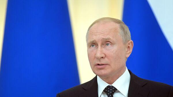 Vladimir Poutine lors d'une conférence de presse conjointe avec le Président autrichien Alexander Van der Bellen  - Sputnik France