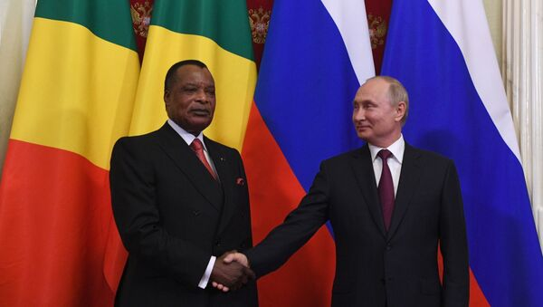 Denis Sassou-Nguesso et Vladimir Poutine à Moscou - Sputnik France