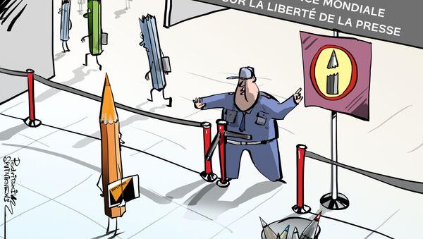 Le refus d'accréditer des journalistes de Sputnik et de RT à la Conférence mondiale sur la liberté de la presse - Sputnik France