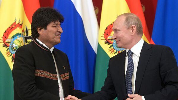 Evo Morales et Vladimir Poutine à Moscou le 11 juillet - Sputnik France