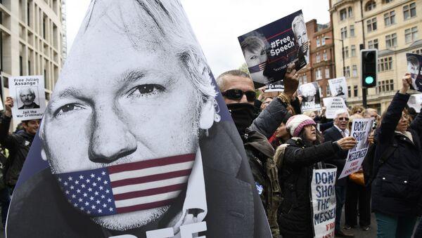 Des manifestants en soutien à Julien Assange - Sputnik France
