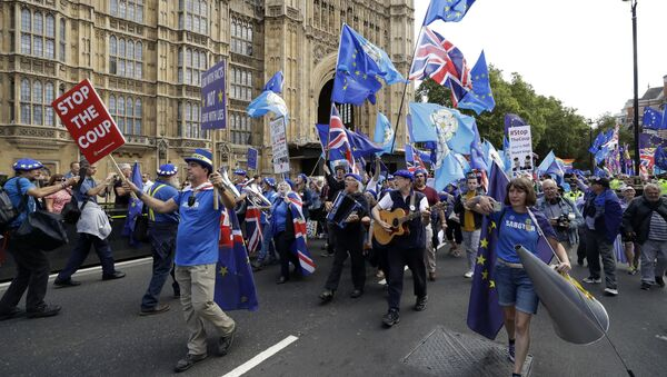 Members of a pro-EU band perform as they protest outside the Houses of Parliament in London, Tuesday, Sept. 3, 2019 - Sputnik France