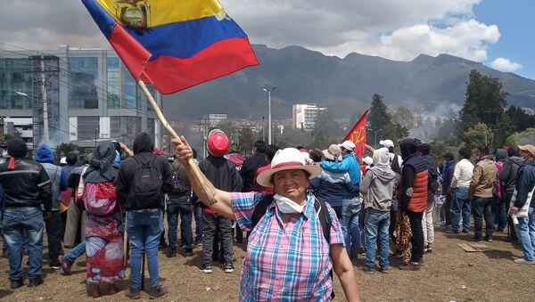 Participante des protestation en Équateur - Sputnik France