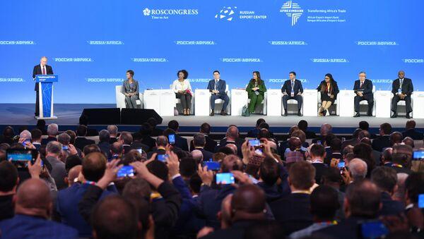 Vladimir Poutine intervient dans le cadre du forum Russie - Afrique à Sotchi - Sputnik France