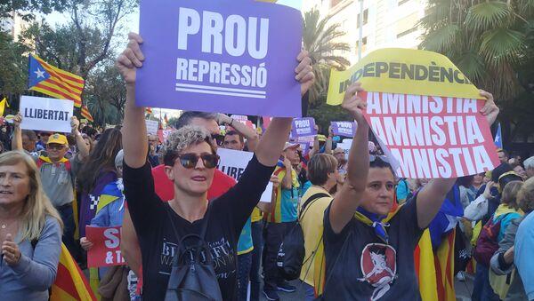 Manifestantes en las calles de Barcelona - Sputnik France