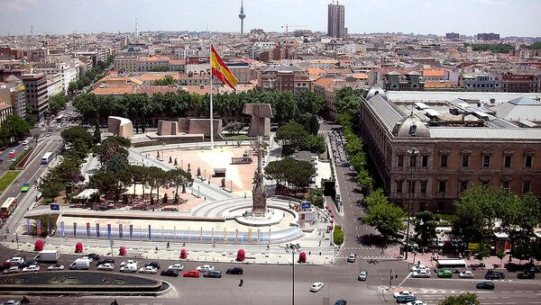 View of Jardines del Descubrimiento (Gardens of Discovery) from a building at Plaza de Colón (Columbus Square) in Madrid (Spain). At the right, the National Library. - Sputnik France