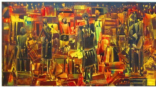 Chlag Amraoui, Langage du temps, huile sur toile, 105 x 55 cm, 2012 - Sputnik France