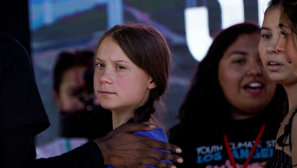 Swedish teen climate activist Greta Thunberg looks on during a march and rally at the Youth Climate Strike in Los Angeles, California, U.S., November 1, 2019. - Sputnik France