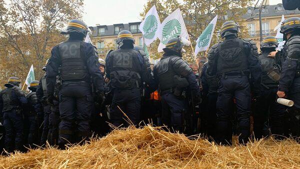 Agriculteurs sur les Champs-Élysées: les manifestants tentent de bloquer l'avenue avec de la paille, 27 novembre 2019 - Sputnik France
