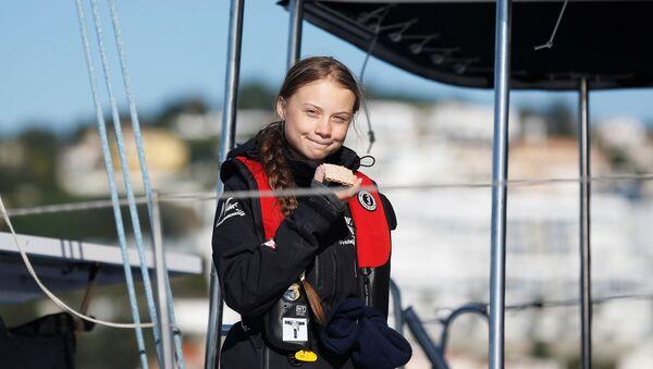 Climate change activist Greta Thunberg arrives aboard the yacht La Vagabonde at Santo Amaro port in Lisbon, Portugal December 3, 2019 - Sputnik France