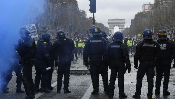 Les forces de l'ordres face à des Gilets jaunes sur les Champs-Élysées le 24 novembre 2018 - Sputnik France