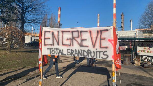 Raffinerie de Grandpuits en grève, 6 janvier 2020 - Sputnik France