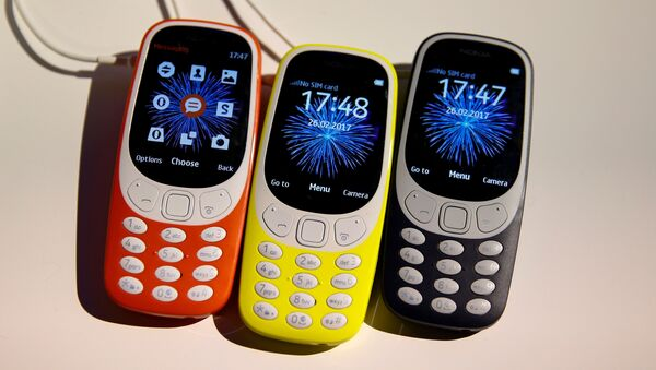 Nokia 3310 devices are displayed after their presentation ceremony at Mobile World Congress in Barcelona, Spain, February 26, 2017. - Sputnik France