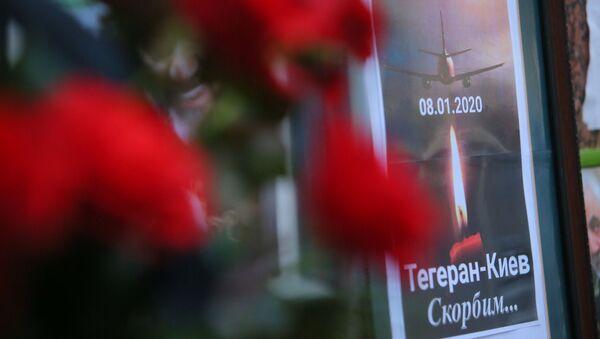 A memorial poster showing Ukrainian Boeing 737-800 plane that crashed outside Tehran, Iran, is seen outside the Iranian Embassy in Kyiv, Ukraine - Sputnik France