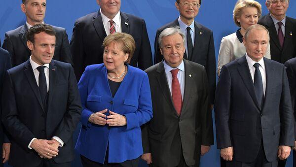 Vladimir Poutine, Angela Merkel et Antonio Guterres à Berlin, le 19 janvier 2020. - Sputnik France