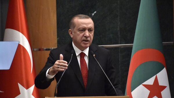 Le Président turc Recep Tayyip Erdogan à la tribune du Forum économique d'Alger, le 27 février 2018. - Sputnik France