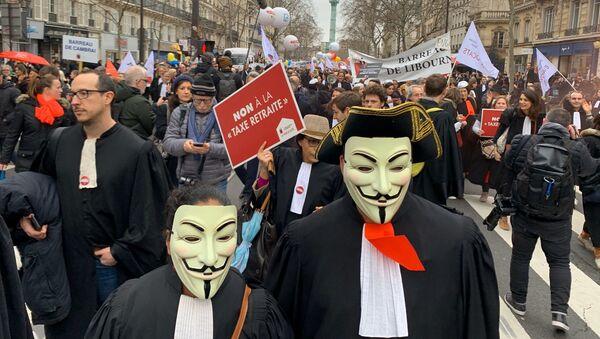 Manifestation des avocats contre la réforme des retraites, 3 février 2020 - Sputnik France