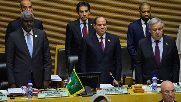 Le Président égyptien Abdel Fattah el-Sisi, au centre, lors du 33e sommet de l'Union africaine à Addis-Abeba, le 9 février 2020. - Sputnik France