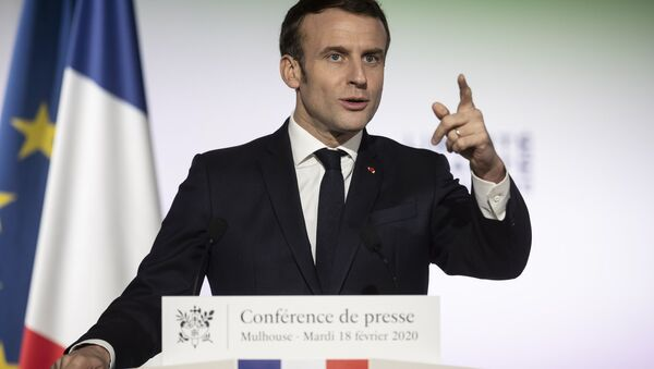 French President Emmanuel Macron, delivers a speech during a press conference a part of his visit in Mulhouse - Sputnik France