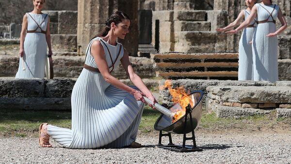 La cérémonie d'allumage de la flamme olympique en Grèce  - Sputnik France
