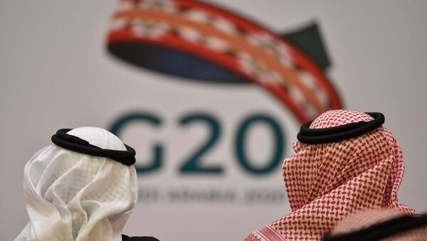Unidentified guests attend a meeting of Finance ministers and central bank governors of the G20 nations in the Saudi capital Riyadh on February 23, 2020 - Sputnik France