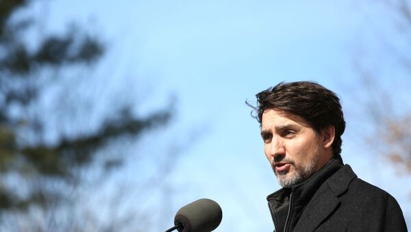 Canadian Prime Minister Justin Trudeau speaks during a news conference on COVID-19 situation in Canada from his residence on March 16, 2020 in Ottawa, Canada - Sputnik France