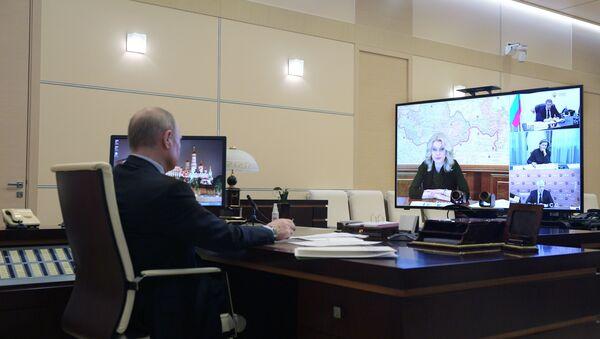 Президент РФ В. Путин провел совещание по развитию ситуации с коронавирусом - Sputnik France