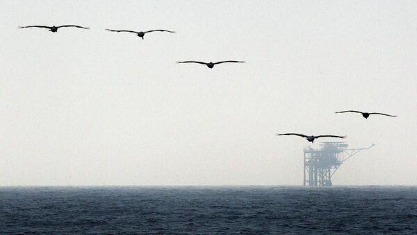 Plate-forme pétrolière dans le golfe du Mexique (image d'illustration) - Sputnik France