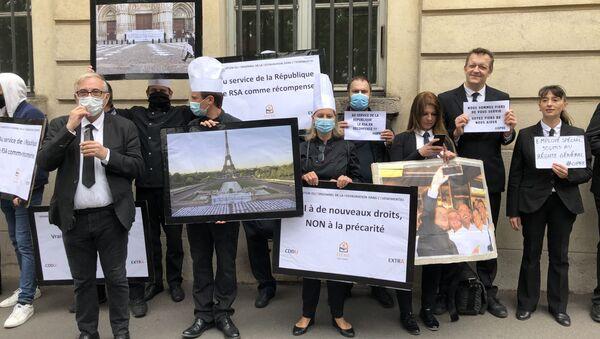 Organisation du Personnel de la Restauration dans l'Evénementiel (OPRE) manifesté à Paris, face au Ministère du Travail - Sputnik France