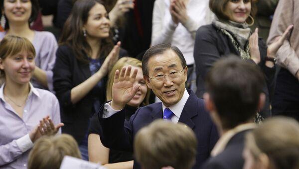 Secrétaire général de l'ONU-Tae Ban Ki-moon et les étudiants - Sputnik France