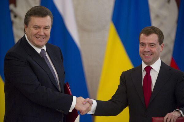 Le président ukrainien Viktor Ianoukovitch et son homologue russe Dmitri Medvedev - Sputnik France