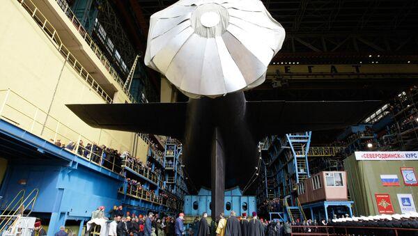 Торжественная церемония спуска на воду головной многоцелевой подлодки Северодвинск - Sputnik France