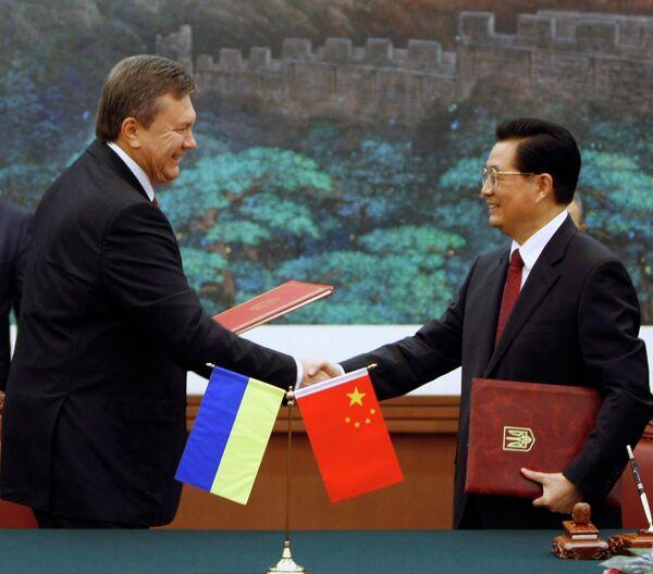 Victor Ianoukovitch et son homologue chinois Hu Jintao - Sputnik France