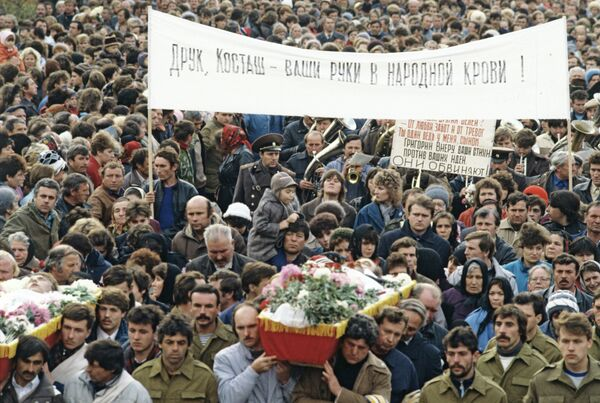 Le 2 novembre 1990, la ville de Doubossary, en Transnistrie, a été le théâtre d'une action de protestation contre l'introduction de la police moldave dans la ville, laquelle a utilisé les armes à feu pour disperser les manifestants. Trois participants transnistriens à ce rassemblement ont été tués. - Sputnik France