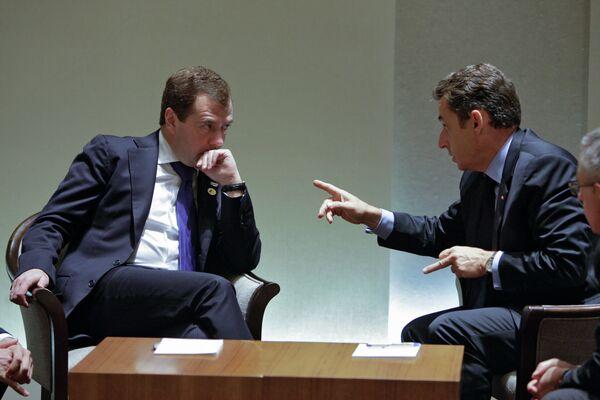 Le président russe Dmitri Medvedev et son homologue français Nicolas Sarkozy - Sputnik France