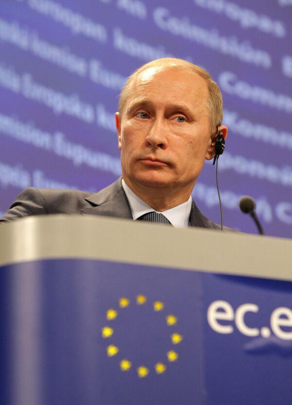Vladimir Poutine lors d'une conférence de presse à Bruxelles. - Sputnik France
